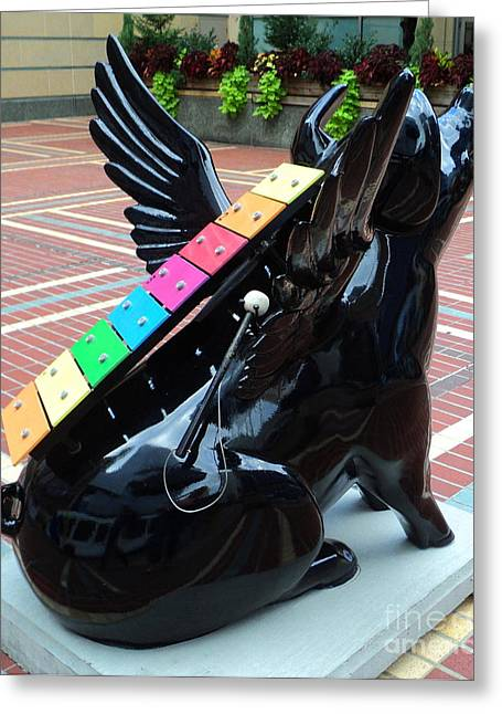 This Flying Pig Plays The Xylophone Greeting Card