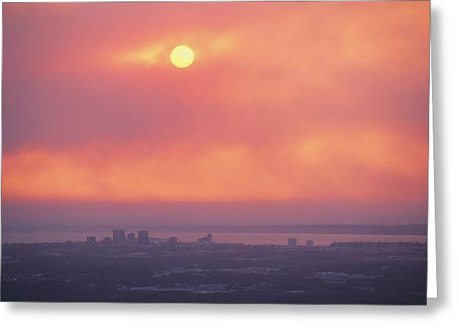 This Sunset Of The Anchorage Skyline Greeting Card by George F. Mobley