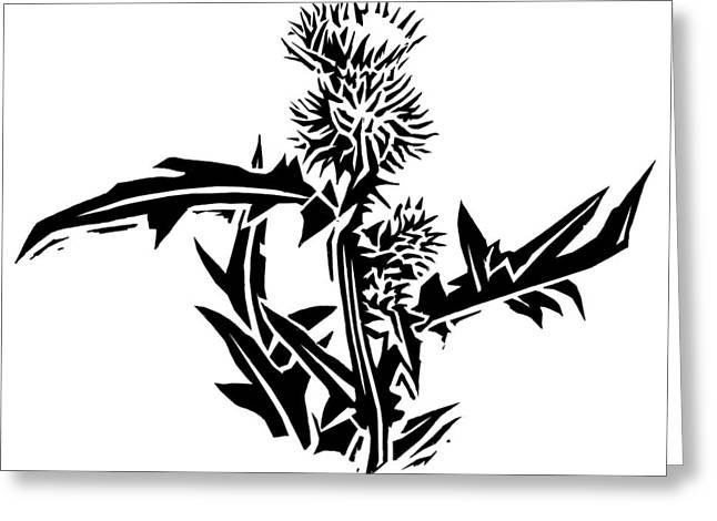 Thistle, Lino Print Greeting Card by Gary Hincks