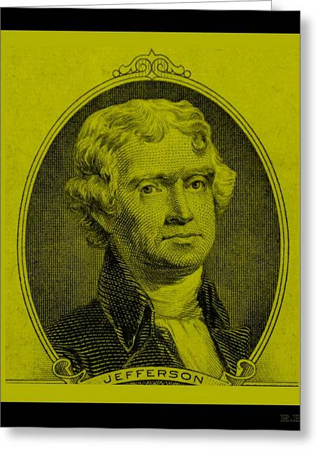 Thomas Jefferson In Yellow Greeting Card by Rob Hans