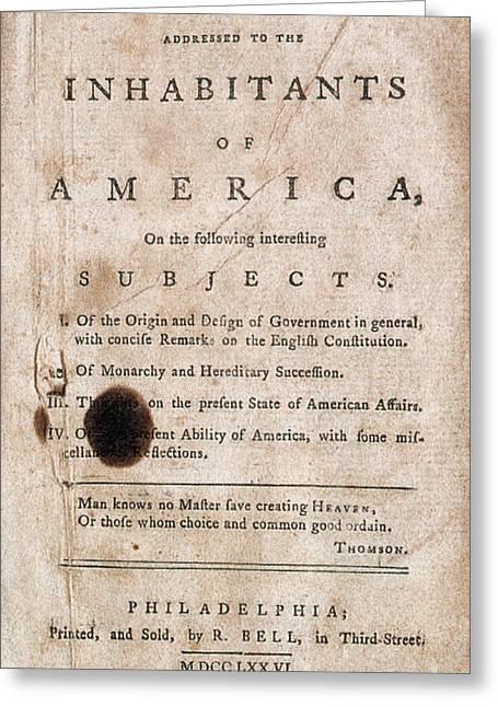 Thomas Paines Common Sense Greeting Card