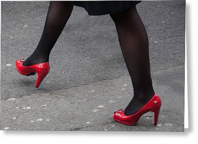 Those Red Shoes Greeting Card by Dawn OConnor
