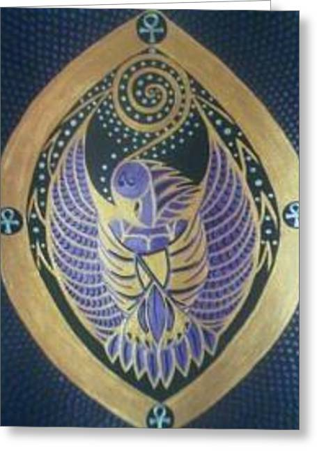 Thoth The Birdman Greeting Card by Michelle Collier