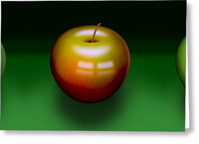 Greeting Card featuring the digital art Three Apples by Katy Breen