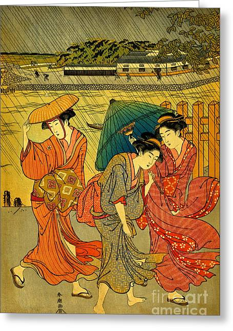Three Beauties In The Rain 1788 Greeting Card by Padre Art