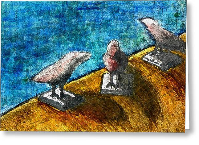 Three Birds Blue Greeting Card by James Raynor