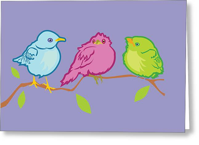 Three Birds Greeting Card by Mary Ogle