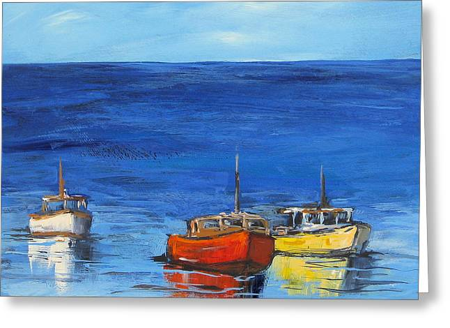 Three Boats Greeting Card by Torrie Smiley
