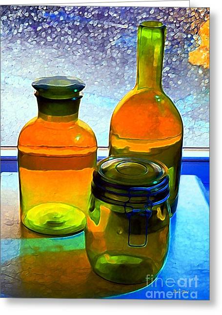 Three Bottles In Window Greeting Card by Dale   Ford