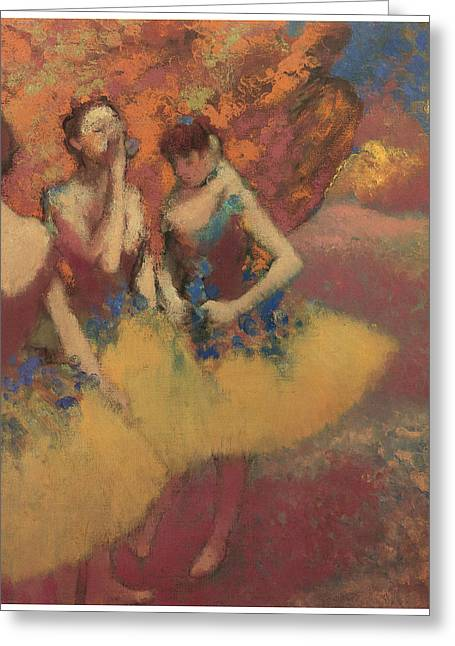 Three Dancers In Yellow Skirts Greeting Card by Edgar Degas