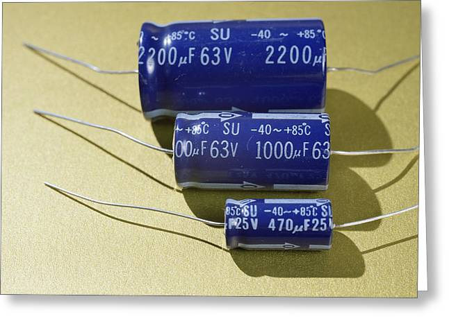 Three Electrolytic Capacitors Greeting Card by Andrew Lambert Photography