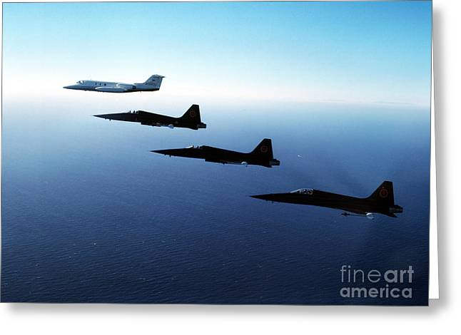 Three F-5e Tiger IIs Fly In Formation Greeting Card by Dave Baranek