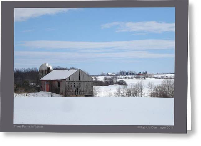 Greeting Card featuring the photograph Three Farms In Winter by Patricia Overmoyer