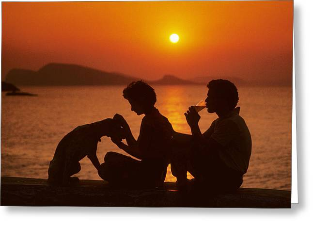 Three Friends On Mykonos Greeting Card by Carl Purcell
