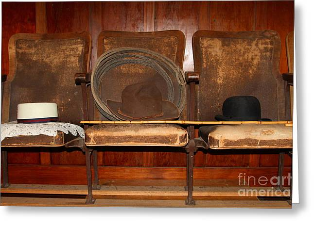 Three Hats A Lasso And A Cane At The Old Movie Theater . 7d12726 Greeting Card