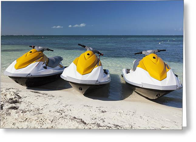 Three Jet Skis On The Beach At Cancun Greeting Card by Bryan Mullennix