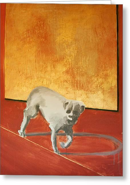 Three Legged Dog Greeting Card by Jea DeVoe
