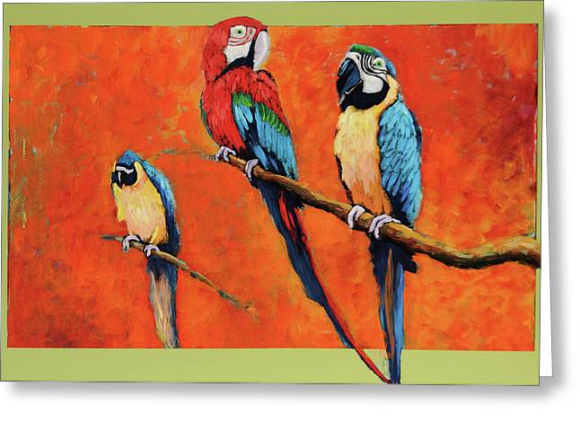 Greeting Card featuring the painting Captive Birds And Abstracted Rain Forest   by Charles Munn