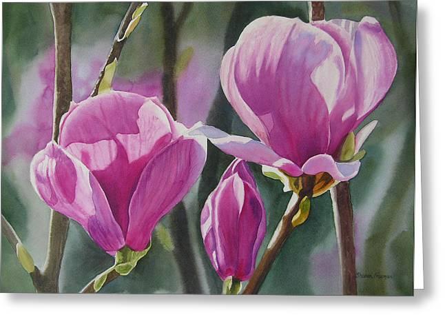 Three Magenta Magnolias Greeting Card by Sharon Freeman