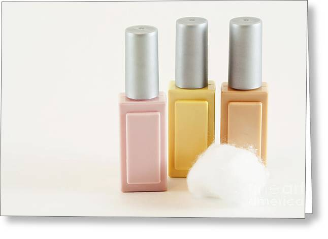 Three Makeup Bottles Greeting Card by Blink Images