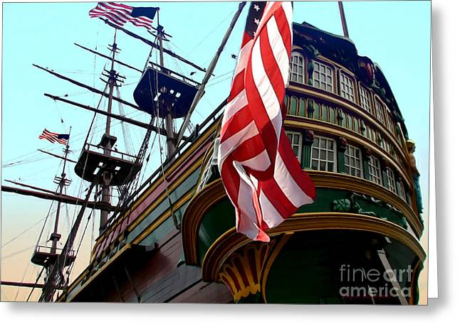 Three Masted Ship Greeting Card by Jerry L Barrett