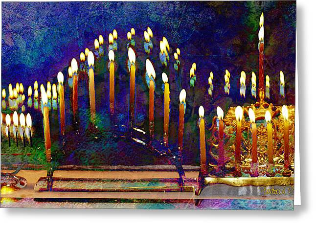 Three Menorahs Greeting Card
