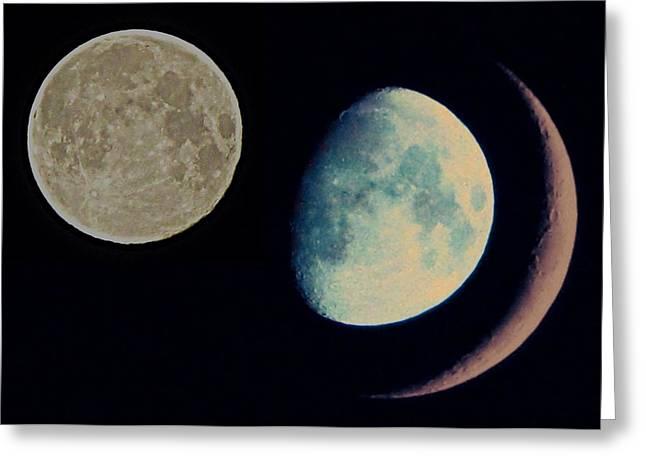 Three Moon Greeting Card by Marianna Mills
