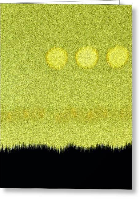 Three Moons In Yellow Sky Greeting Card by James Mancini Heath