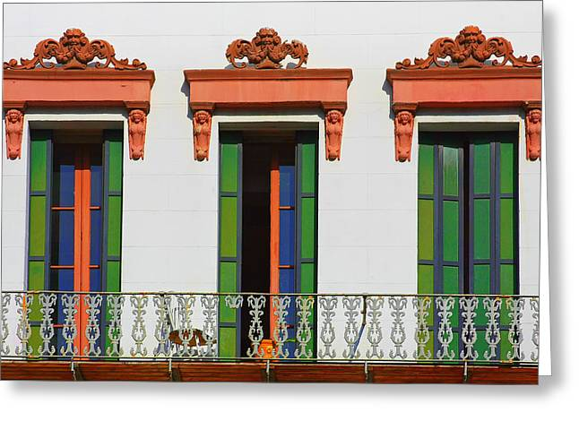 Three Of A Kind - The Windows In Old Sacramento Greeting Card by Christine Till
