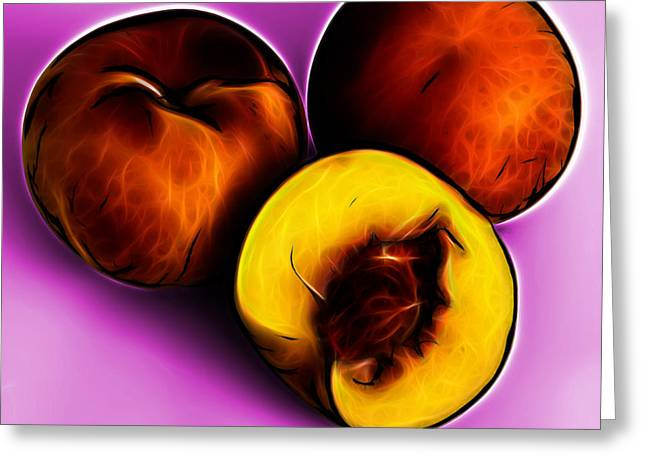Three Peaches - Magenta Greeting Card by James Ahn
