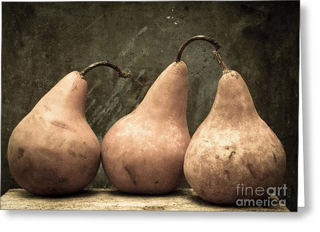 Three Pear Greeting Card by Edward Fielding