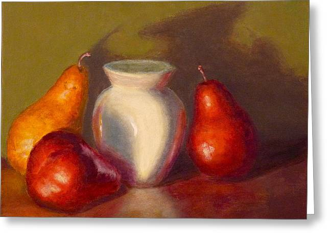 Greeting Card featuring the painting Three Pears by Joe Bergholm