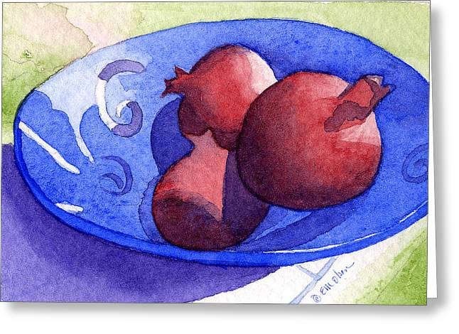 Three Poms In Blue Bowl Greeting Card by Eunice Olson