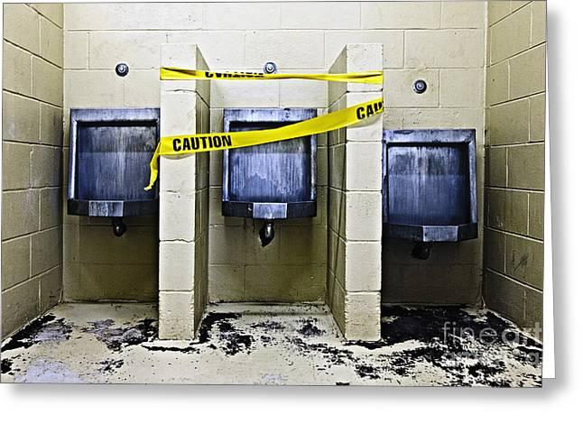 Three Public Urinals In Disrepair Greeting Card