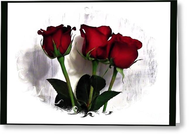Three Red Roses In A Frame Greeting Card by Marsha Heiken