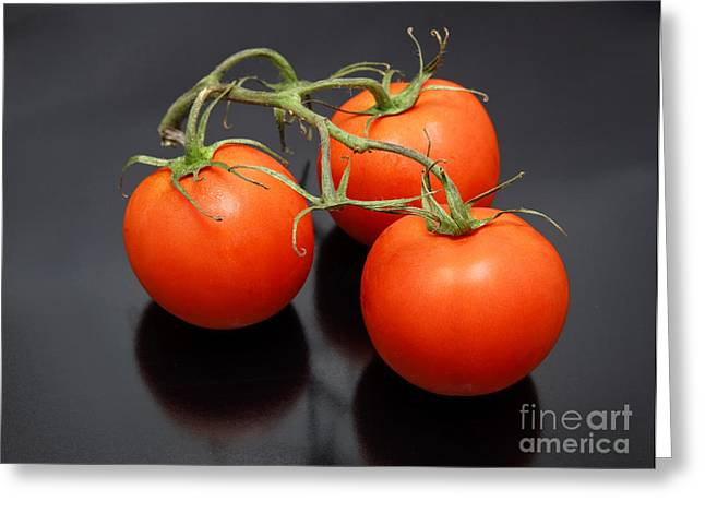 Three Red Tomatoes On The Vine Greeting Card by Ricky Schneider