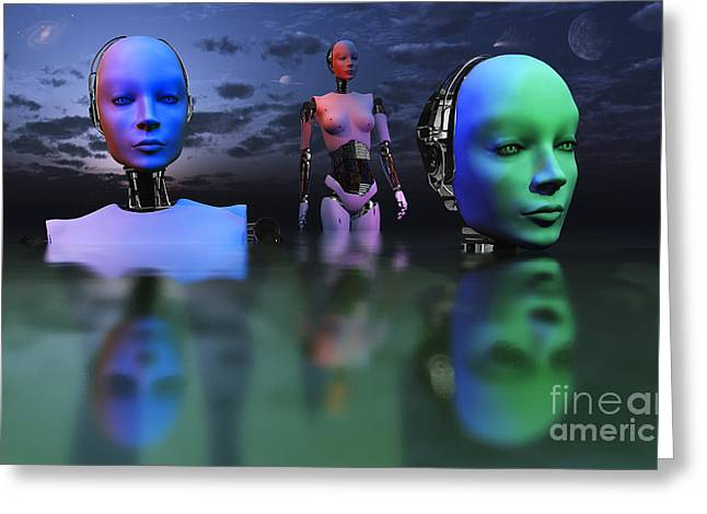 Three Robots Link To Form One Super Greeting Card by Mark Stevenson