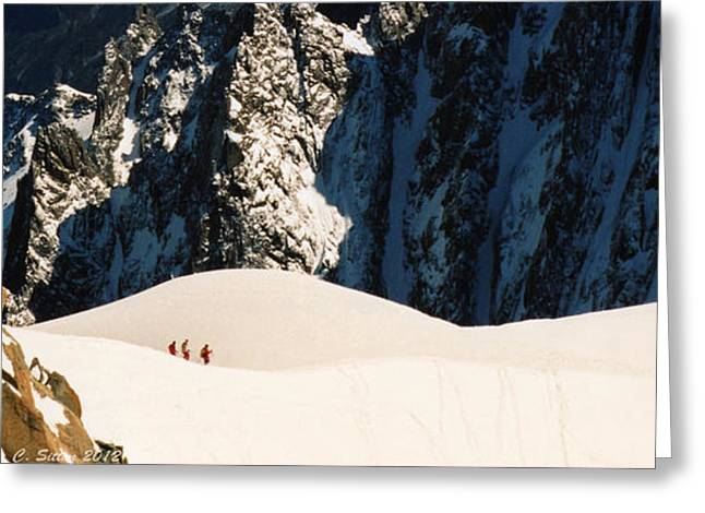Three Skiers At Chamonix Greeting Card