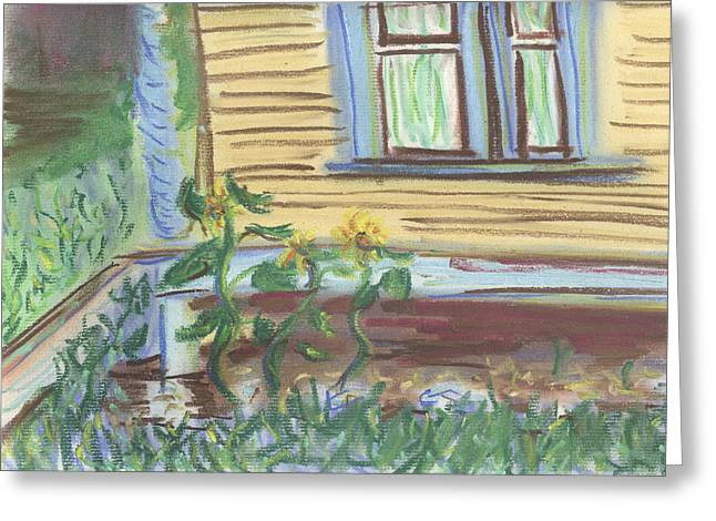 Greeting Card featuring the pastel Three Sunflowers By The Porch by Denny Morreale