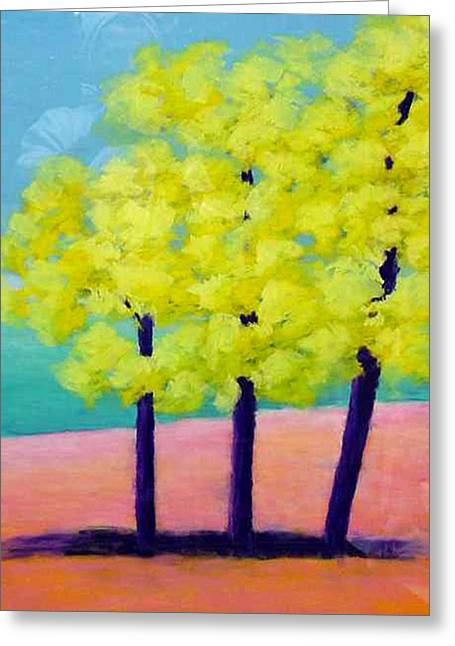 Three Trees On Beach Greeting Card by Karin Eisermann