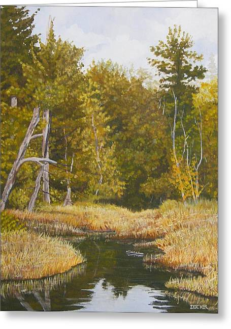 Greeting Card featuring the painting Three Turtles Lake Conestee by Robert Decker