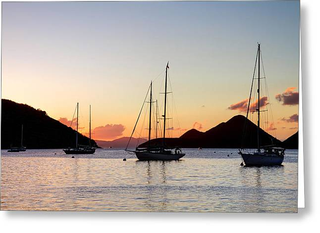 Three Yachts Silhouette Greeting Card by Anya Brewley schultheiss