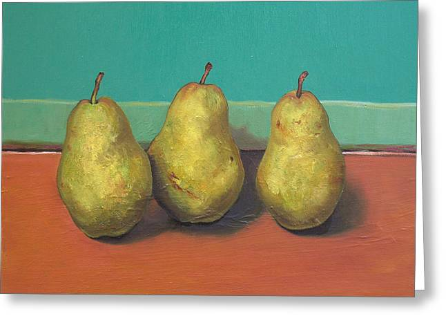 Three Yellow Pears With Green Wall Greeting Card by Yuki Komura