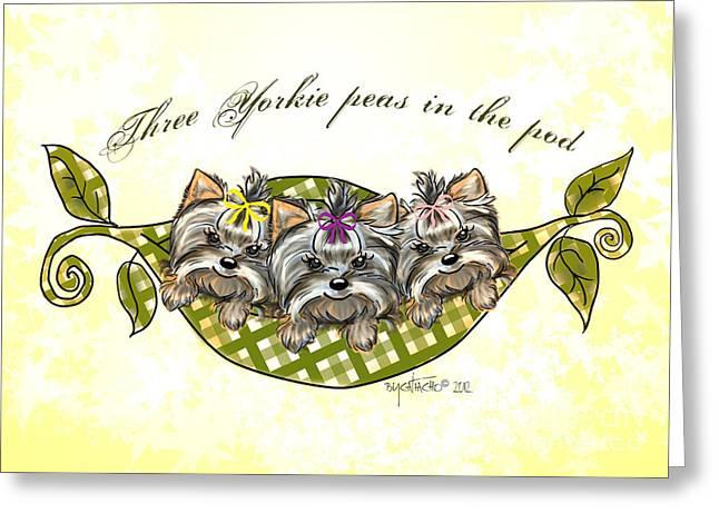 Three Yorkie Peas In The Pod Greeting Card