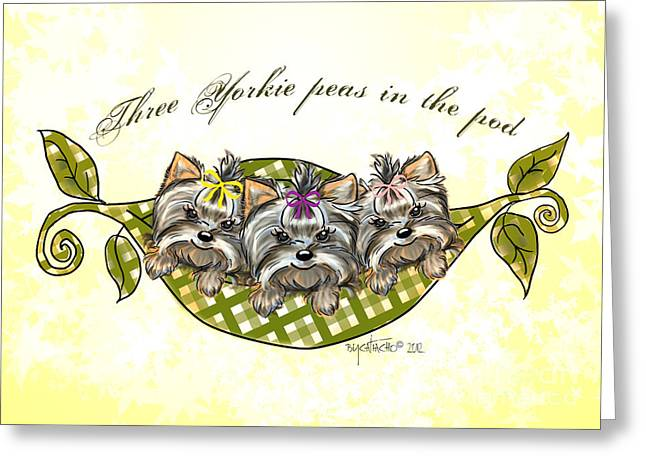 Three Yorkie Peas In The Pod Greeting Card