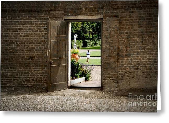 Through The Garden Gate Greeting Card by Donald Davis