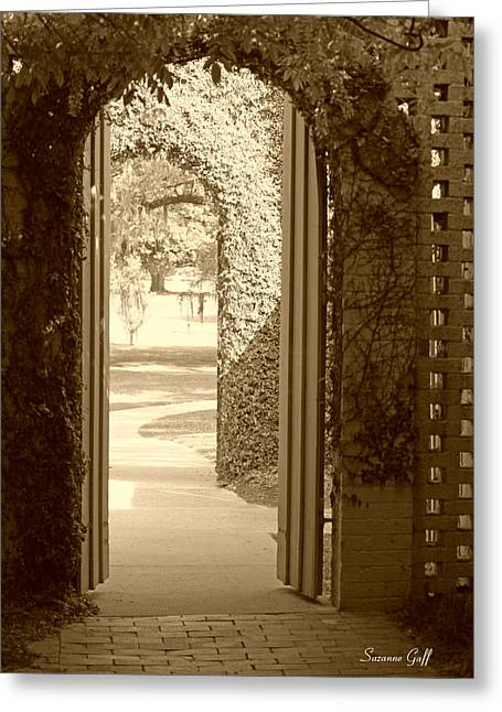 Through The Garden Gate In Sepia Greeting Card by Suzanne Gaff