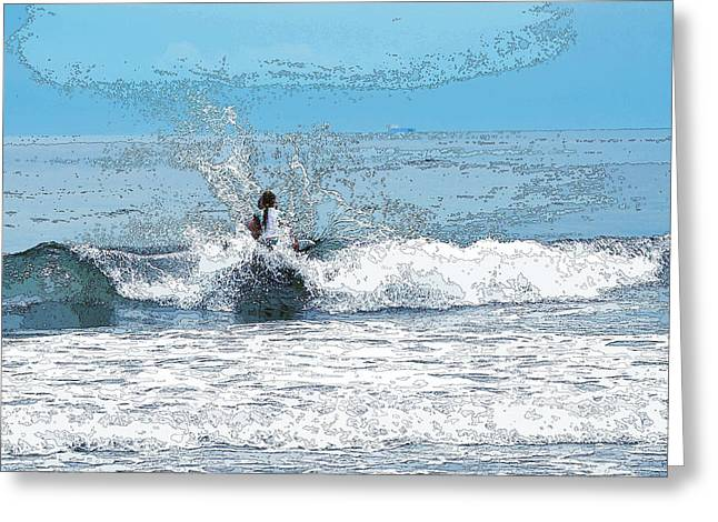 Greeting Card featuring the photograph Through  The Wave Blues by Maureen E Ritter