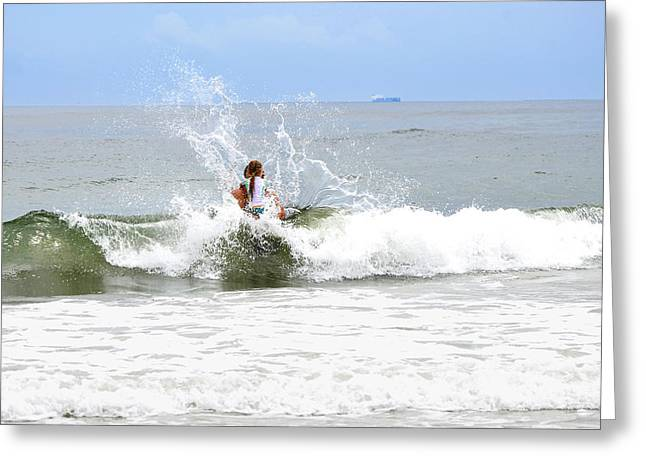 Greeting Card featuring the photograph Through The Waves by Maureen E Ritter