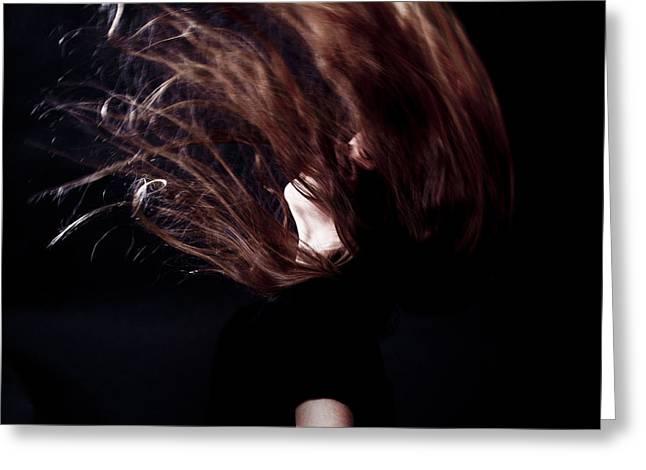 Throwing Hair Greeting Card by Joana Kruse